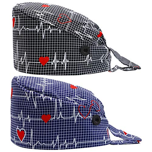 2PCS Fun Printed Working Hat with Buttons, Upgrade Breathable Lace Up Cotton Sweatband Cap Tie Back Hair Cover for Women Men (ECG)