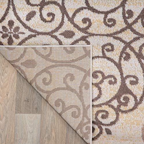 Rugshop Contemporary Modern Floral Indoor Soft Area Rug, 5'3″ x 7'3″, Cream