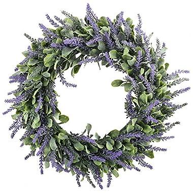 GTIDEA 16  Artificial Lavender Wreaths Flowers Arrangements Front Door Wall Home DIY Floor Garden Office Wedding Decor