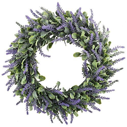 GTIDEA 18 Inch Artificial Lavender Wreath for Front Door Boxwood with Lavender Wreath Flowers Arrangements for Front Door Wall Home DIY Floor Garden Office Wedding Decor (Purple)