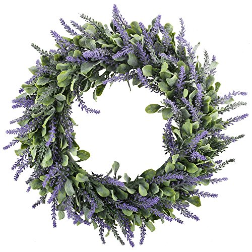 GTidea 16' Artificial Lavender Wreaths Flowers Arrangements Front Door Wall Home DIY Floor Garden Office Wedding Decor in Purple