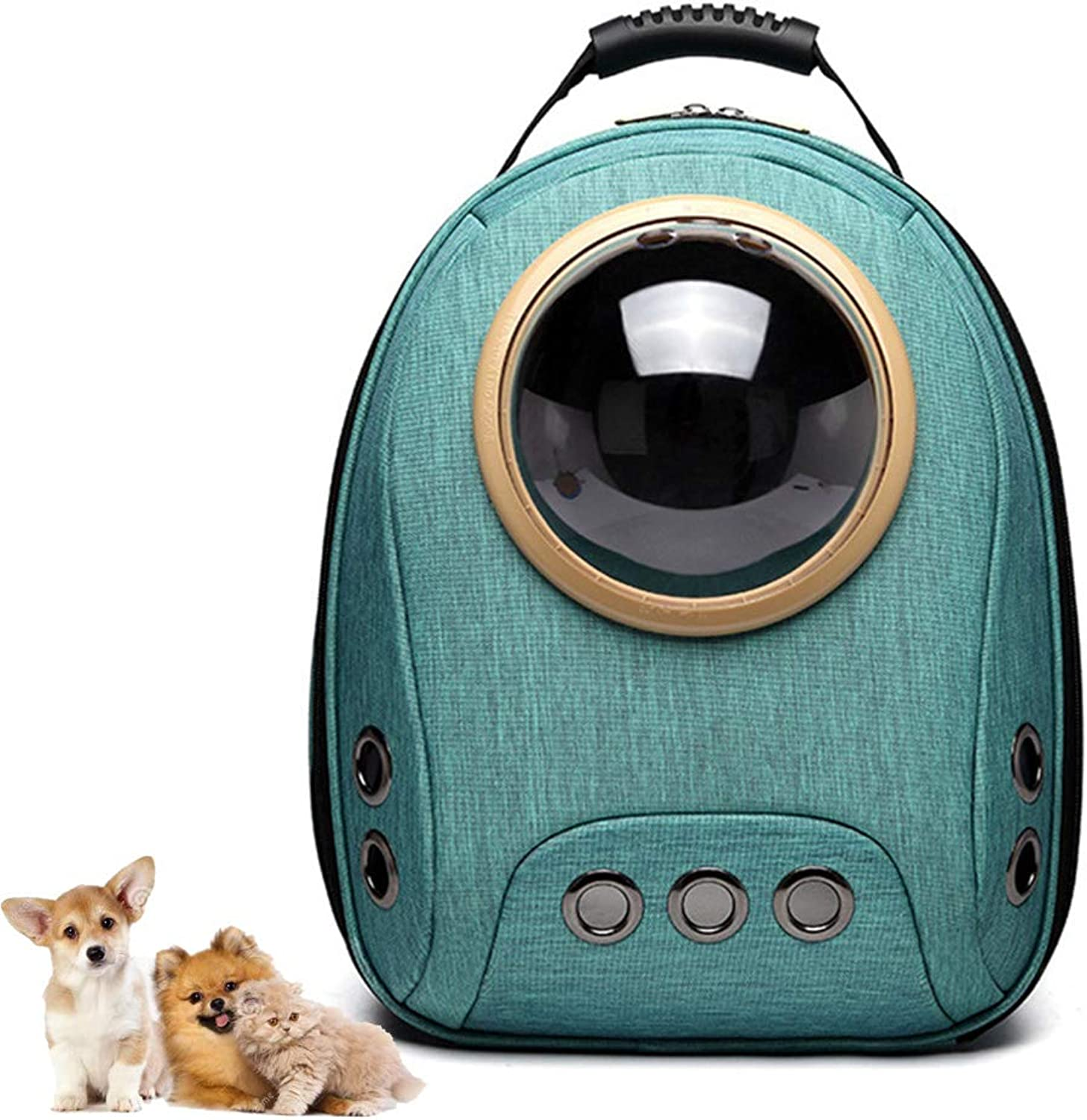Pet Backpack 360 Degree Transparent Space Capsule Portable Waterproof Breathable Kitty Puppy Backpack (Green)