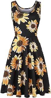 Frieed Womens Bohemian Sleeveless O Neck Tank Dresses Floral Print Dress