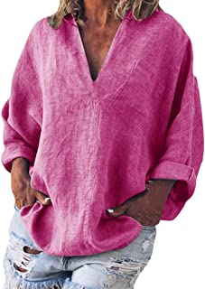 Bellelove Damen T-Shirts Baumwolle Leinenhemd Chic Einfache High Jacquard Tops Tunika V-Ausschnitt Langarm Bluse Einfarbig Top