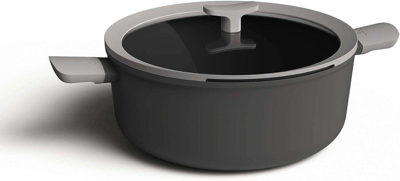 Berghoff 3950170 Olla de 2 asas 28cm, 6,2l + tapa, aluminio, inducción, Color gris