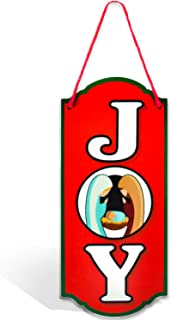 Bigtime Signs Merry Christmas Decorations Joy Nativity Door Sign Hanger - 6 inch x 13.5 inch Festive Christmas Decor - Thick PVC Sign w/Red Rope - Perfect Touch for Any Setting - Christmas Sign