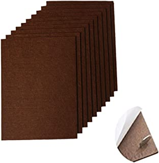 "RERIVER 10-Pack Self-Stick Felt Pads 6"" X 8"" X 1/5"" Thick Heavy Duty Furniture Felt Sheets Wood Floor Protector(Brown)"