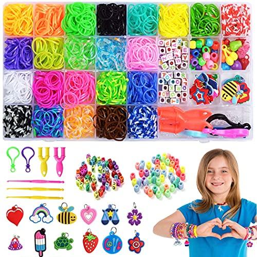 Élastiques Bandes en Caoutchouc, Loom bands elastiques,Kit de Métier à Tisser Bracelets Élastiques Caoutchouc Bracelet Elastique Jeu Créatif pour Enfants Tricoter Bracelets