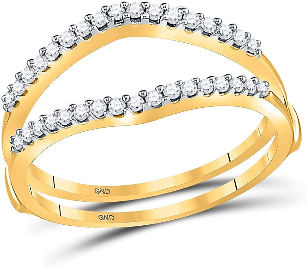 14kt Yellow Gold Womens Round Diamond Ring Guard Wrap Enhancer Wedding Band 1/4 Cttw