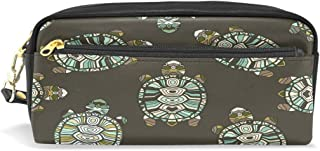 ALAZA Cute Turtle Pencil Case Zipper PU Leather Pen Bag Cosmetic Makeup Bag Pen Stationery Pouch Bag Large Capacity