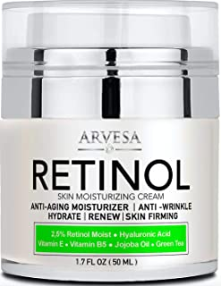 NEW 2020 Retinol Moisturizer Cream for Face and Eye Area - Made in USA - with Hyaluronic Acid - Active Retinol 2.5% - Anti Aging Face Cream to Reduce Wrinkles & Fine Lines - Best Day and Night