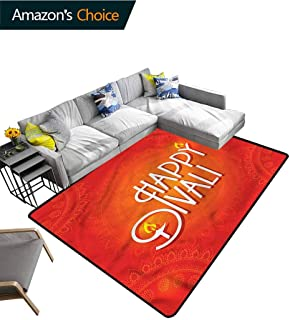TableCoversHome Diwali Striped Bath Mats for Floors, Happy Diwali Candles Pattern Printing Carpet, Fashionable High Class Living Dinning Room (8'x 10')