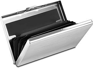 Storite 6 Slot RFID Blocking Silver Credit Card Holder, Metal Credit Card Case for Men and Women