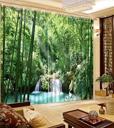 xmydeshoop Grüne Vorhänge Größe Blackout 3D-Fenstervorhänge für Wohnzimmer Bambusvorhänge 250(H) x150(B) Cmx2