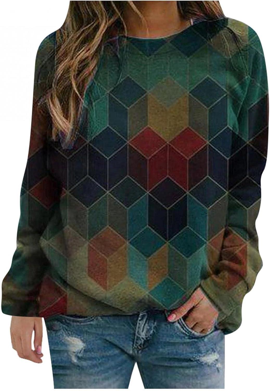 Sweatshirts for Women,Womens Crewneck Sweatshirts Tops Vintage Printed Plus Size Long Sleeve Pullover Shirts