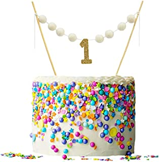 ALIVELY First Birthday Banner Cake Topper – Handmade Happy Birthday Felt Ball Garland Decoration – 1st Birthday Cake Bunting Topper with Glitter ONE (Gold)
