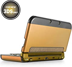 TNP New 3DS Case (Gold) - Plastic + Aluminium Full Body Protective Snap-on Hard Shell Skin Case Cover for New Nintendo 3DS 2015 - [New Modified Hinge-less Design]