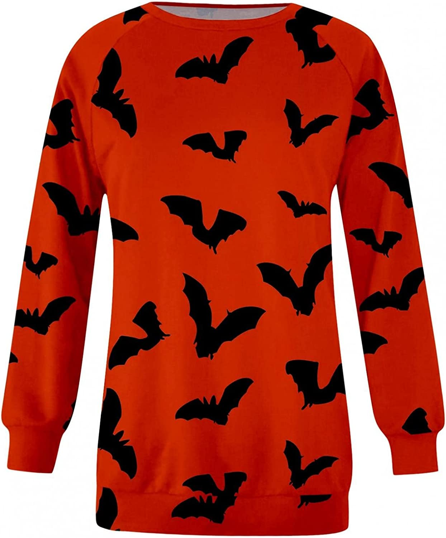 FABIURT Halloween Sweatshirts for Women Bats Pumpkin Graphic Long Sleeve Crewneck Pullover Tops Costumes Sweater Shirt