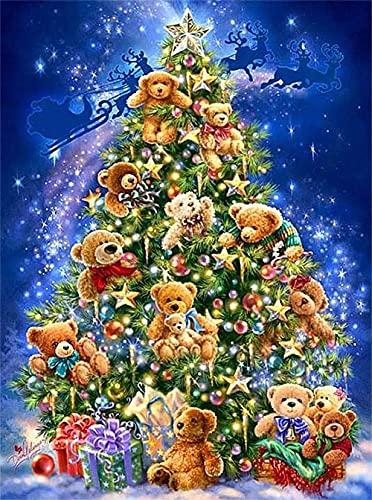 DIY 5D Diamond Painting Kits Talla pequeña Árbol de Navidad peluche Redondo Pintura de Diamante Hijos Punto de Cruz Diamantes imitación Completo Bordado Diamante Arts Craft Decor pared Hogar 30x40cm
