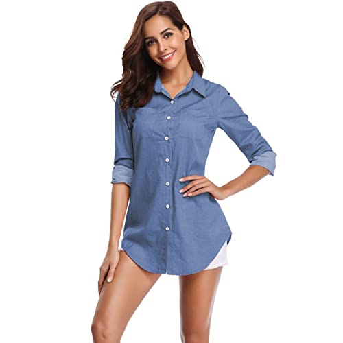 New Womens Ladies Casual Classic Button-Down Denim Medium Wash Fitted Shirt Top
