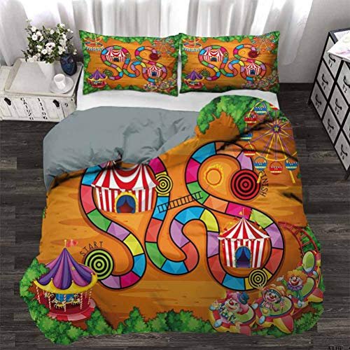 Duvet Cover Set Carnival in Town Circus Characters Tents Ferris Wheel Ride Route Curves Forest Lightweight Comforter Case Set Wrinkle/Fade Resistant Breathable Machine Washable Twin - 180 x 230 CM