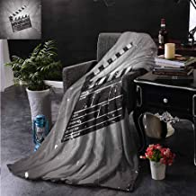 PCNBDJC Bedroom Blanket Movie Theater Clapper Board on Retro Backdrop with Grunge Effect Director Cut Scene Travel Blanket W70 x L84 Inch Grey Black White