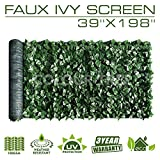 ColourTree Artificial Hedges Faux Ivy Leaves Fence Privacy Screen Panels Decorative Trellis - Mesh Backing - 3 Years Full Warranty (39' x 198')