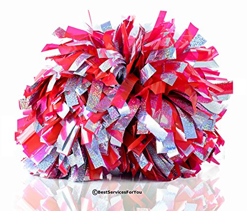 BestServicesForYou Cheerleader Pom - Pack of 2 | 6'' with Baton Handle | Metallic Gold and Silver foil | Cheerleading Sports Squad Cheering Dance Team | Red Green Blue Yellow Black
