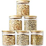 Glass Jars with Bamboo Lids Urban Green, Glass Airtight Canisters sets, Glass Food Storage Container, Pantry Organization and Storage Jars, Kitchen Canisters Sets, Spice Jars, Flour Containers of 6