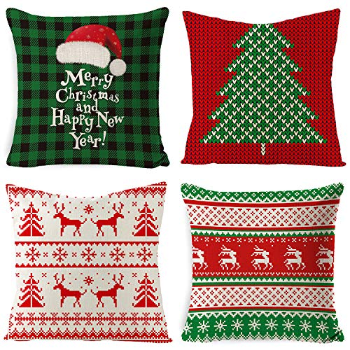 Voqeen 4PCS Fundas de Almohada Navideñas Almohada de Lino de Algodón Funda de Cojín Cuadrado Decorativa para Sofá Cama Coche Favor de Navidad 45 x 45 cm