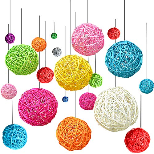liuer 30PCS Navidad Decoración Casa Interior Bolas de Navidad de Mimbre Ratán Bolas Multicolor para Manualidades,Fiestas Festivales,Arbol de Navidad,Adornos para Colgar en Interiores y Exteriores