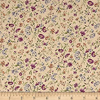 Kaufman Sevenberry: Petite Garden Lawn Flowers Lavender Fabric by The Yard