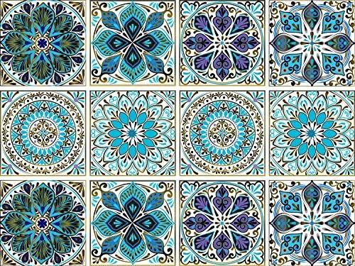 Mandala Decorative Tile Stickers Set 12 Units 6x6 Inch Peel and Stick Self Adhesive Removable product image
