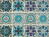 Mandala Decorative Tile Stickers Set 12 Units 6x6 Inch Peel and Stick Self Adhesive Removable Moroccan Talavera Tiles Backsplash Waterproof Kitchen Bathroom Furniture Staircase Home Decor