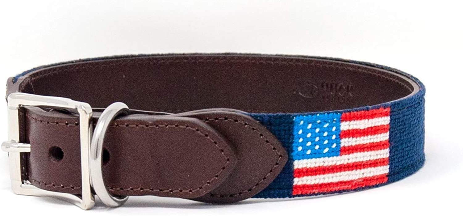 Huck Venture Durable Handcrafted Artisan Needlepoint Dog Collar w FullGrain Leather Backing and HighGrade Stainless Steel Hardware (American Flag, Large)