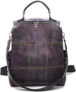Fashion Geometric Personality Backpack, Mini Shoulders Bag, Multifunction Daypack Purse Bag for Girls Lady (Color : Purple, Size : 26 * 15 * 30cm)