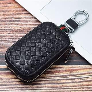 IMBM Genuine Leather Car Key Case Key Chain Coin Pack Metal Hook Zipper Bag Remote Key Fob (Color : Black)