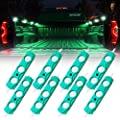 Xprite Led Rock Light for Bed Truck, 24 LEDs Cargo Truck Pickup Bed, Under Car, Foot Wells, Rail Lights, Side Marker LED Rock Lighting Kit w/Switch Green - 8 PCs