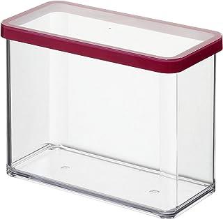 Rotho Loft boîte de rangement rectangulaire de 2,1l avec couvercle et scellé, Plastique (PP) sans BPA, transparent / roug...