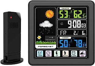 PopHMN Estación Meteorológica, Sensor Inalámbrico De Pronóstico De Color con Pantalla Táctil Temperatura Humedad Termómetro Higrómetro Reloj Despertador Interior Exterior para Casa Oficina (Negro)