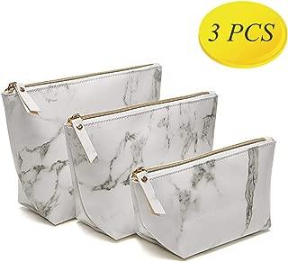 3 PCS High Capacity Marble Makeup Bag Set - Makeup Purse Travel Makeup Pouch, Storage Makeup Brushes Bag Or Coin Purse  for Women Girls