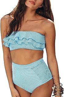 Misassy Womens Flounce Bandeau Bikini Top High Waisted Cheeky Swimsuit Bottom 2 Piece Bathing Suits