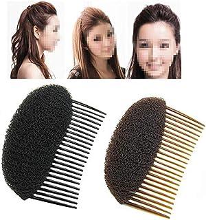 2PCS (1Black+1Brown) Bump Up Volume Hair Inserts Comb Hair Styling Tool Bumpits Bouffant Donut Bun Maker Hair Accessories