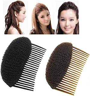2PCS (1Black+1Brown) Bump Up Volume Hair Inserts Comb Hair Styling Tool Bumpits Bouffant Donut Bun Maker Hair Accessories