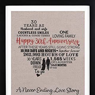 Framed 30th Anniversary Heart Burlap Print Decorations, 30 Years Wedding Anniversary Gift for Men, 30th anniversary Gift for Women