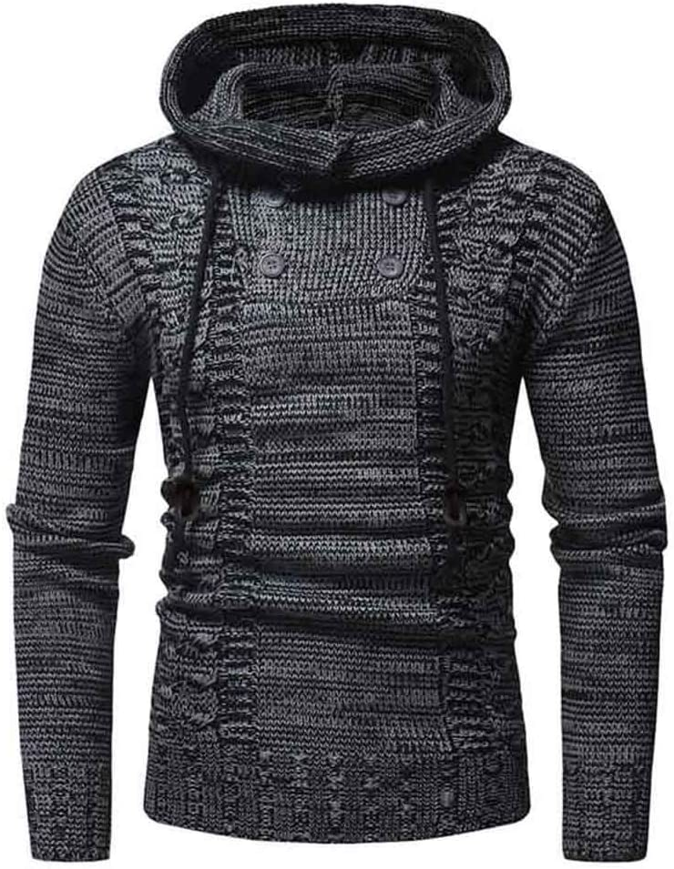 Men Sweater Solid Pullovers Hooded Sweater Warm Femme Slim Fit Jumpers,Black,XXL