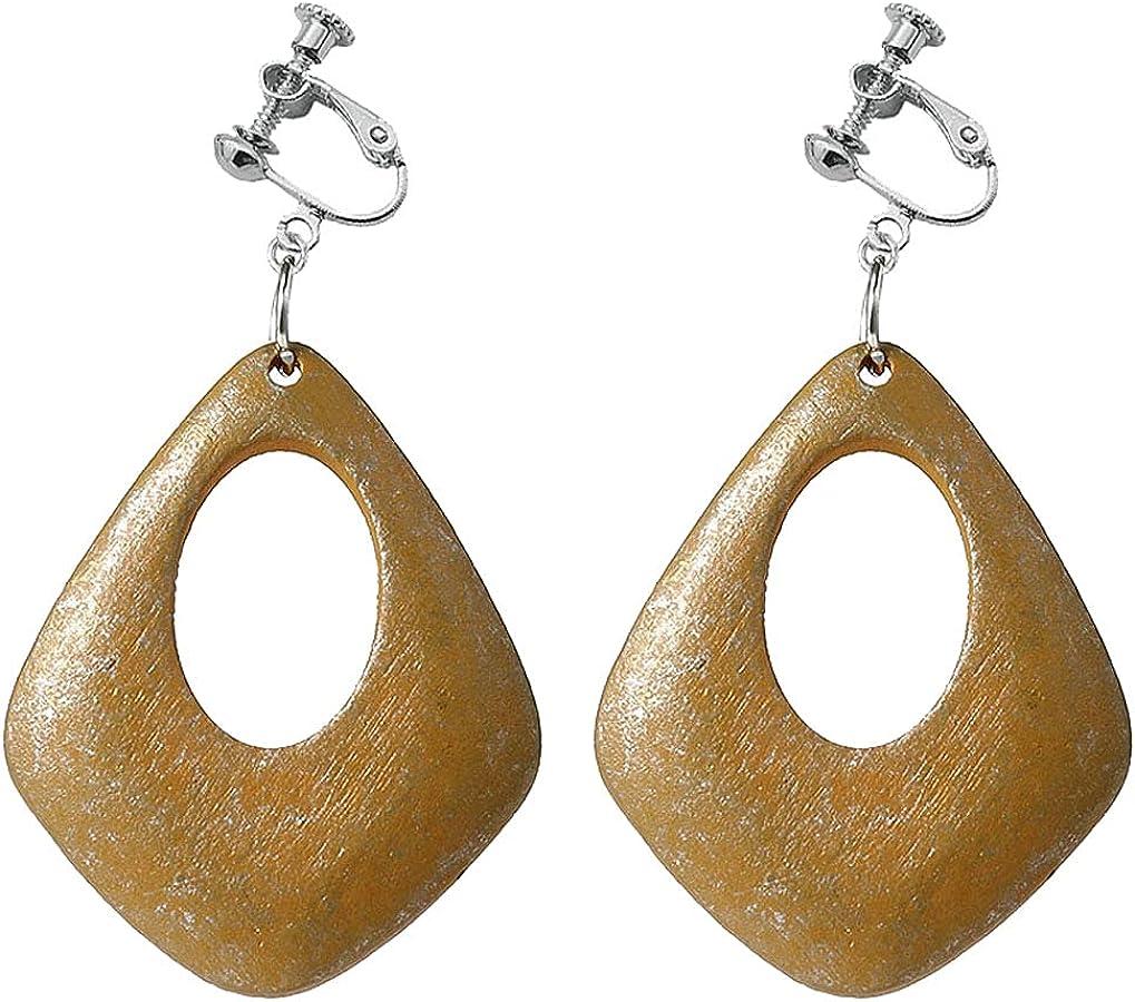 Clip on Non Pierced Earrings Hollow Teardrop Stone Dangle Drop for Women Girl Fashion Ears Jewelry Multicolored Geometric Oval Dangling Boho Style Princess Gifts Party Dress Up