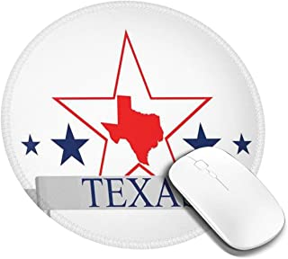 Round Mouse Pad,San Antonio Dallas Houston Austin Map with Stars Pattern USA,Non-Slip Gaming Mouse Mat,2 PCS