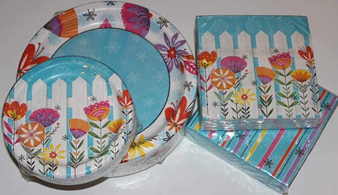 Springtime/Summertime Floral Paper Plates and Napkins Party Pack - Serves 50 - Includes 50 (10