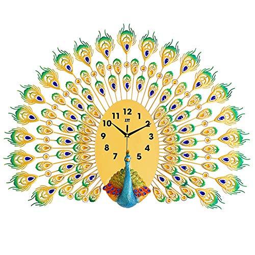 Grand Garde-Temps, Horloge Décorative Créatrice De Paon, La Maison Européenne De Mode Muette Accrochant La Table Électronique, Grande Horloge De Mur En Métal De Quartz En Gras 85 Cm * 66 Cm